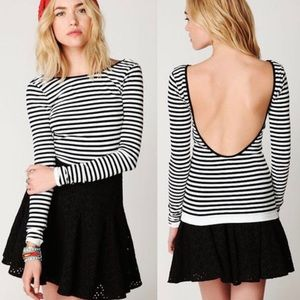 Free People | Striped Low-Back Bodycon Top